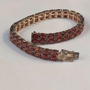 Mozambique Garnet set in Sterling Bracelet